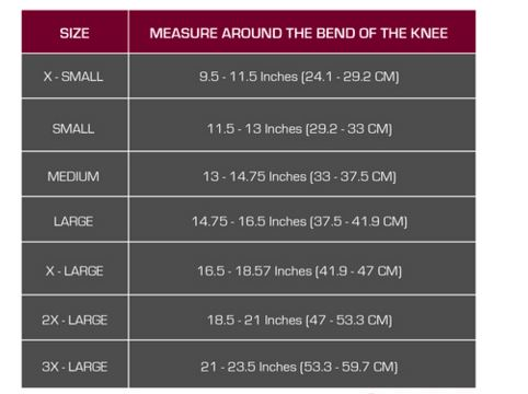 Knee Support with Spiral Stays Size Chart