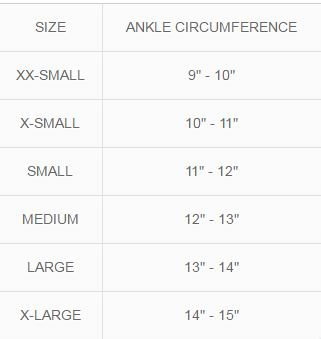 MKO Ankle Brace with Stays Compression Size Chart