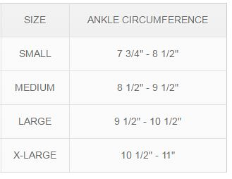 MKO Ankle Support Compression Size Chart