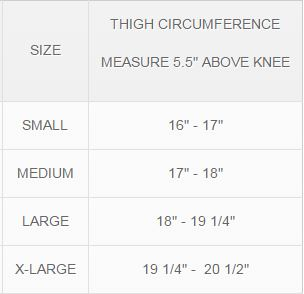 MKO Elastic Thigh Compression Sleeve Size Chart