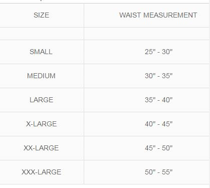 MKO Pulley Back Brace Size Chart